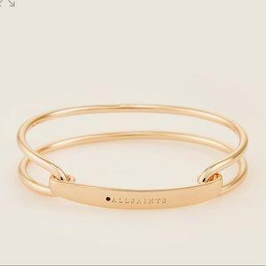 Jewelry - ALLSAINTS Logo Goldtone Open Bangle - NWT